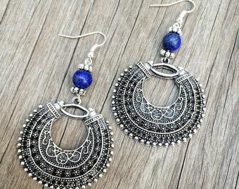 Blue hues Gypsy earrings White Metal turquoise and lapis lazuli/ Boho Jewerly/ Bohemian Earrings