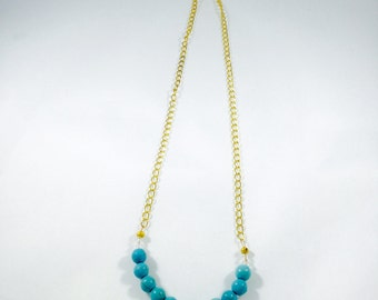 Turquoise Wood Beaded Necklace