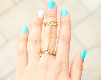 Gold Double Chain Ring - Chain Link Ring - Gold Slave Ring - Gold Chain Ring - Chain Ring - Gold Chain Link Midi Ring