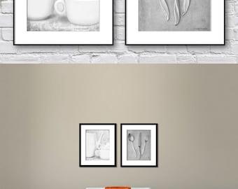 Kitchen Wall Art, Black and White Set of 2 Prints, Dining Room Wall Art, Gray Wall Art Prints of Kitchenalia