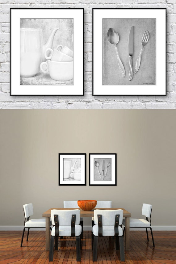 Kitchen Wall Art Black And White Set Of 2 Prints Dining Room