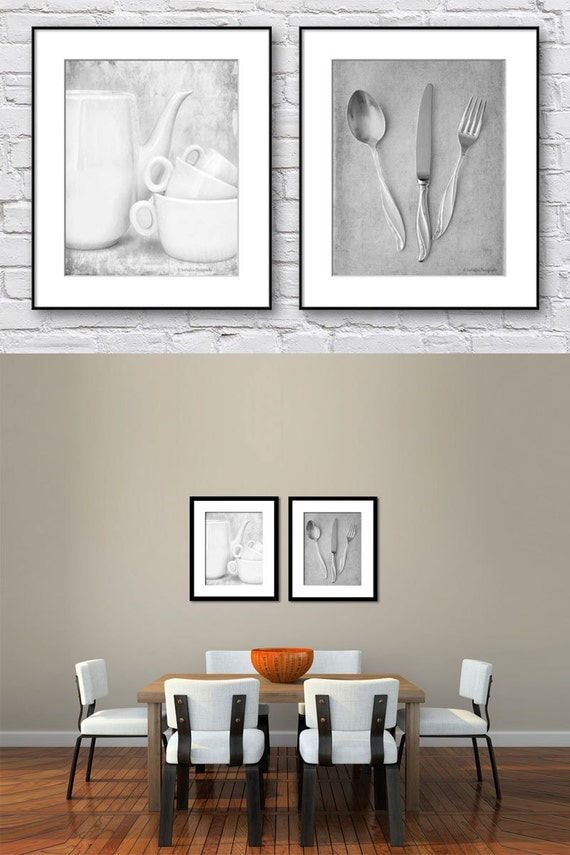 Wall Art Set Of 2 kitchen wall art black and white set of 2 prints dining room