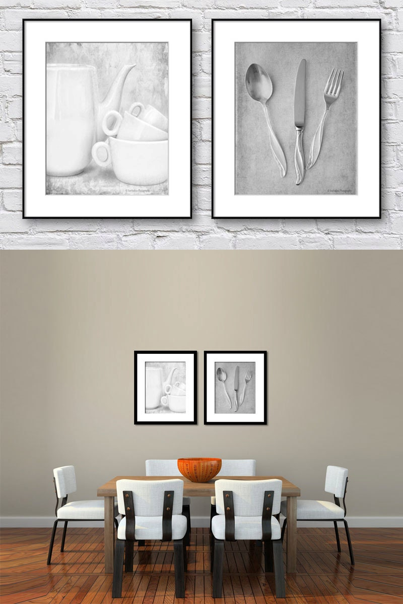 Dining room wall art black and white kitchen wall art set of for Kitchen and dining wall art
