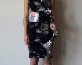 black bleach dye knee length graphic dress