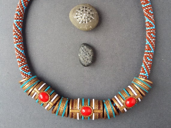 ethnic red beads, Indian red necklace, boho red necklace, ethnic red jewelry