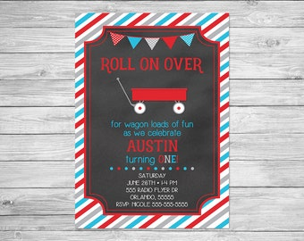 Little Red Wagon Birthday Invitation Printable - Roll On Over Birthday Invitation