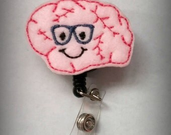 Neurology Nursing Badge Reel- Nursing Badge- Pink Brain Id Holder- Neuro Feltie Retractable Badge