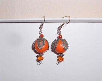 Vintage pierced earrings dangle melon balls handmade 1990s jewelry