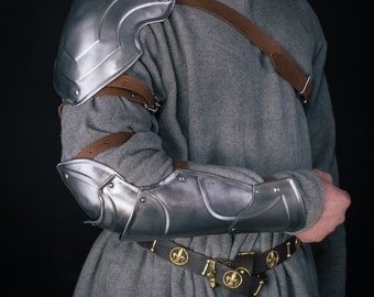 LARP Avalon Knight Shoulder and Bracer- Steel Armor- Single Armour Pauldron&Bracer with elbow