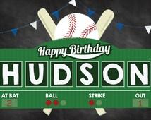 "Baseball Party Yard Sign - Baseball Themed Party - Baseball Decoration - Happy Birthday Yard Sign - Personalized 18"" x 12"""