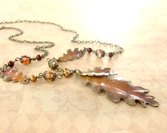 Autumn Necklace - Vintage Style Autumn Leaf Necklace - Oak Leaf Patina Jewelry Autumn Jewelry - Hand Painted Jewelry Unique Artistic Jewelry
