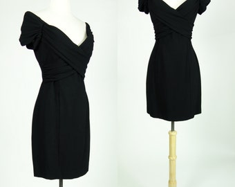 1980s black dress, Nicole Miller designer dress, rayon wiggle mini dress, size medium, US 8