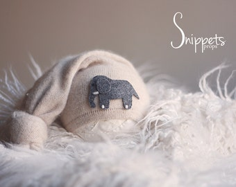 Upcycled Elephant Hat - Boy photo props, newborn photography props, photo prop hat