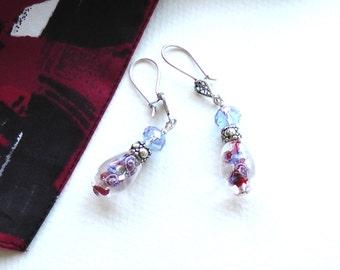 Lampwork Glass Earrings, Crystal Earrings, Sterling Silver Earrings, Blue Glass Earrings
