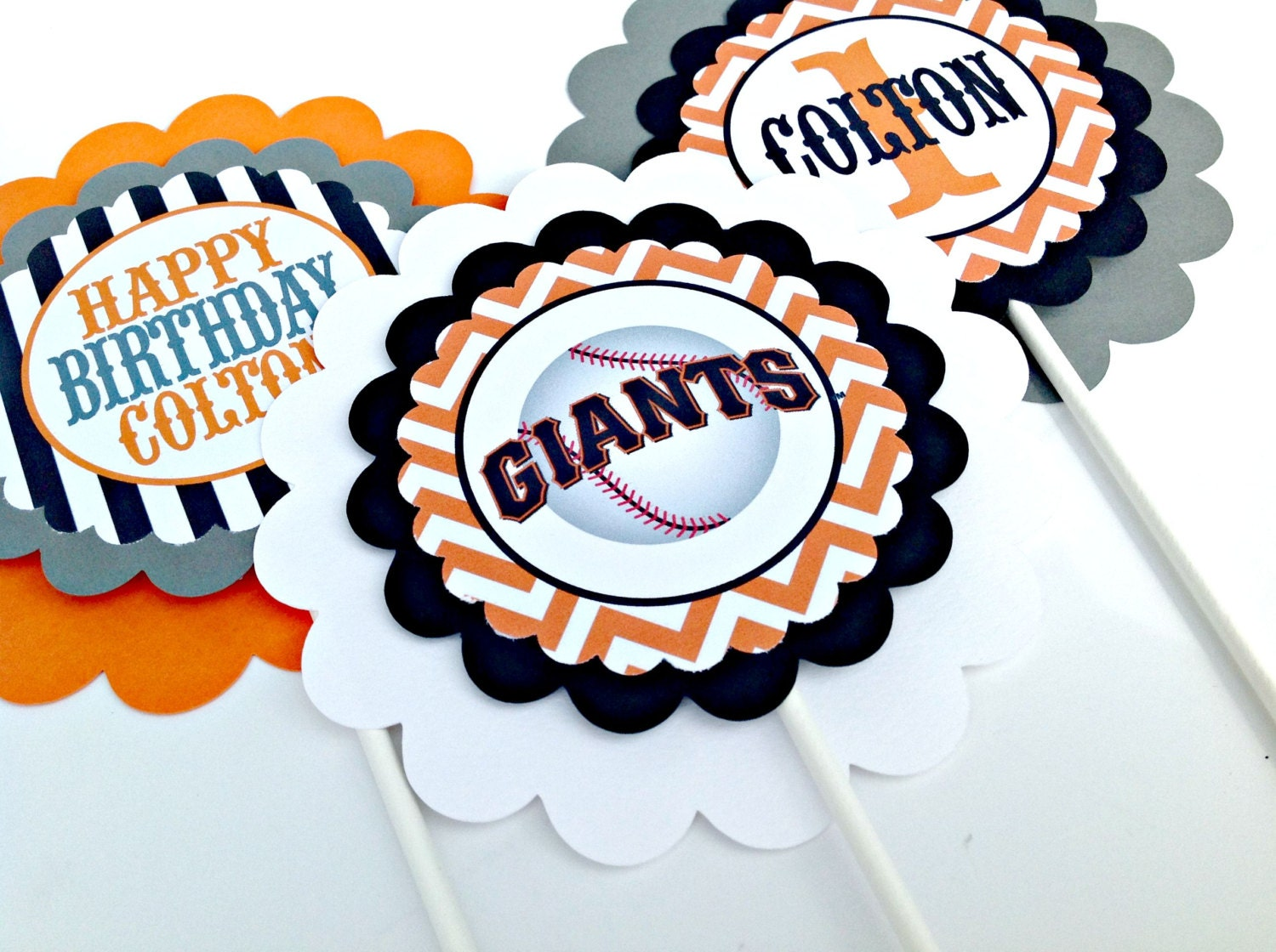 3 San Francisco Giants Inspired Centerpieces Or Cake Toppers