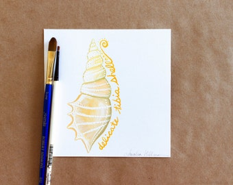 "Original Gouache Delicate Tibia Seashell Miniature Painting on Bristol Board - ""31 Days of Seashells"" Collection"
