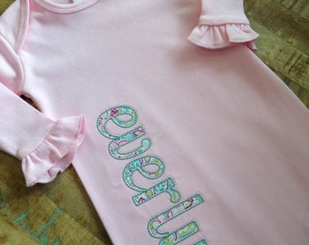 Pink infant gown with name