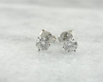 Diamond Stud Earrings White Gold HKTNV3-D