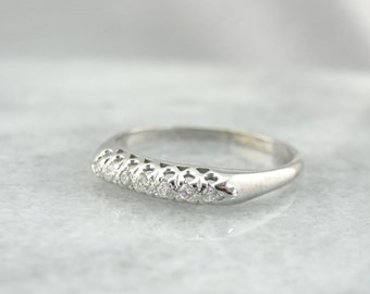 Vintage Six Diamond Wedding Band White Gold, Sparkling Stones! FPPRCJ-D