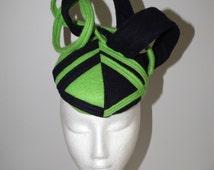Trackside..New latest designer millinery Australian Made apple green navy blue headpiece headwear raceday hat modern handmade loops winter