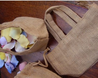 4 Inch 2 Pack Burlap Flower Girl Basket #B183