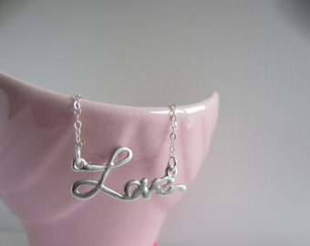 Love Necklace Pendant - Sterling Silver Chain