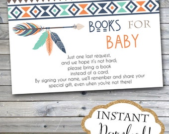 INSTANT DOWNLOAD - Aztec Tribal Feather Arrow Navy Mint Orange Books for Baby - Bring a Book Instead of Card Insert - 0140