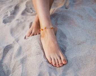 Baltic amber anklet / Chain anklet / Adult amber anklet