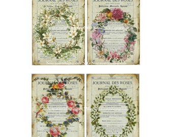 Shabby French Floral Digital Tags, Floral Wreath, Botanical Wreath, Journal Des Roses, Instant Download Image
