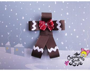 Gingerbread Man Ribbon Sculpture Hair Clip. Christmas Hair Clip