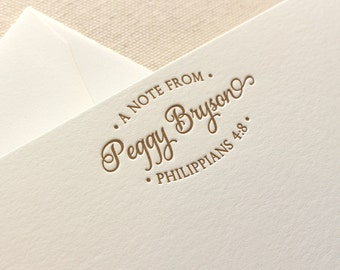 Letterpress Personalized Stationery with Bible verse, Set of 50 or more, note cards, thank you, Christian, Script, Letters, Encouragement
