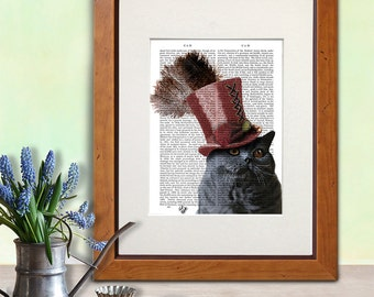 British Blue Cat Art Print - Grey Cat Top Hat - British Shorthair Cat Print cat poster gift for cat lover wall hanging cat decor wall art
