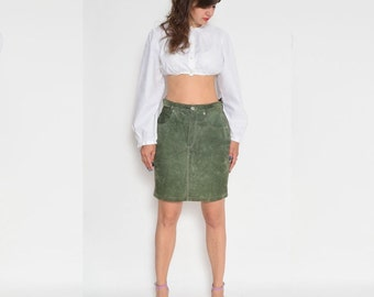 Vintage 90's Suede Leather Moss Green Skirt