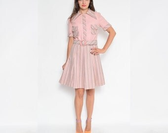 Vintage 70's Pink Belted Wool Dress