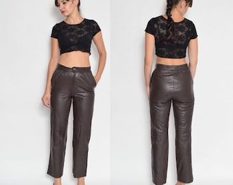 Vintage 80's High Waisted Brown Genuine Leather Pants