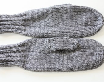 Knit Mittens - Adult Mittens - Gray Knit Mittens - Ladies Knit Mittens - Knitted Mittens for Women - Grey Mittens - Winter Accessories