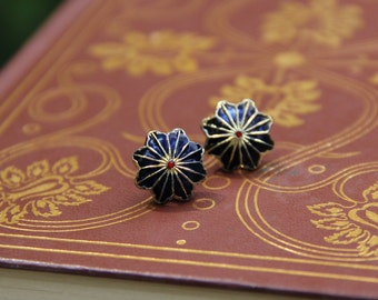 Faded Gold, Blue, and Red Flower Stud Earrings
