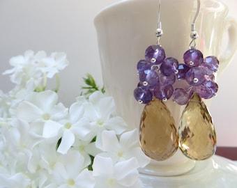 Amethyst earrings, Golden Quartz earrings, Faceted Amethyst semi precious gem February birthstone earrings, Sterling Silver cluster earrings