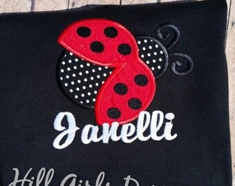 Lady bug appliquéd shirt with embroidered name (child or women's size)
