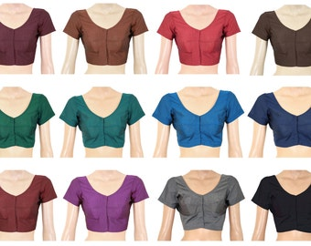 Readymade Saree Blouse - Cotton Blouse - All Sizes - Ready-made - Sari Blouse - Saree Top - Sari Top - For Women- 12 colors - All Sizes