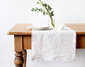 White Stone Washed Linen Table Runner With Fringes