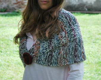 Wool shawl/ handknitting/ Wrap/ winter shrug/ wool winter accessories