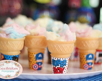 Little Superheroes Ice Cream Wrappers, Instant download
