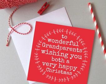 Grandparents Christmas card - Christmas card for Grandma Grandad - Family Christmas cards - Wonderful Grandparents card for Christmas