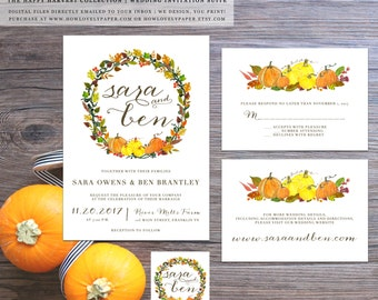 Printable Fall Wedding Invitation Suite - the Happy Harvest Collection