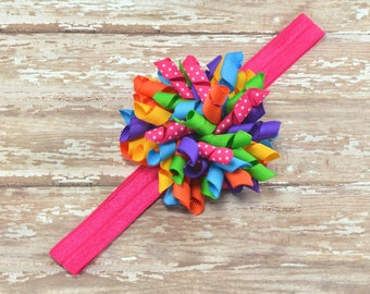 Rainbow Headband, Rainbow Hair Bow, Happy Birthday Headband, Rainbow Birthday, Birthday Photo Prop, Toddler Headband, School Headband