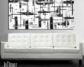 Black and white painting on canvas. 24x48. Canvas art. Modern painting. Large painting. Wall art. Contemporary