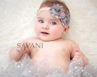 Gray pink baby headband, shabby chic roses headband, newborn head band, headbands