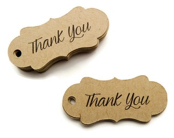 125 Count - Thank You Tags - Hang Tags - 1.7 x 0.75 inch - Kraft Tags - Bracket Tags - Wedding Favor Tags - Jewelry Tags - TY2