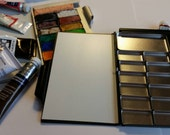 Travel custom Watercolor mini palette with magnetic removable pans. sketchbook pocket size palette 2 x4 in. Choose your own label